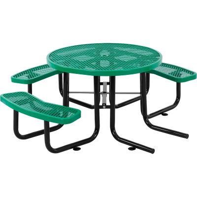 """Global Industrial™ 46"""" fauteuil roulant accessible table ronde de pique-nique en acier extérieur, vert"""