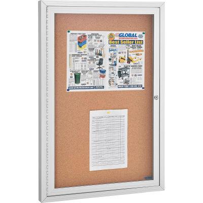 "Global Industrial™ Enclosed Bulletin Board - Cork - Cadre en aluminium - 24"" x 36"" - 1 Portes"