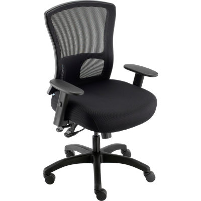 Interion® Big and Tall Mesh Back Chair with Asynchronous Tilt - Tissu - Noir