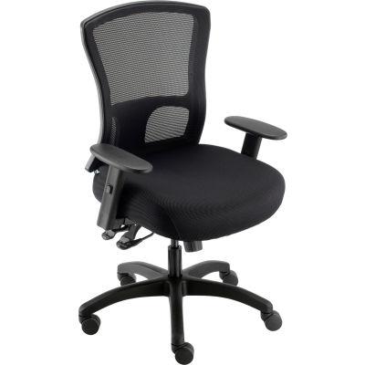 Interion® Asynchronous Tilt Big & Tall Mesh Back Chair w/High Back & Adj. Arms, Fabric, Black