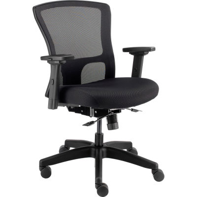 Interion® 24-Hour Black Fabric Mesh Task Chair And Seat Slider