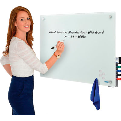 Global Industrial™ Magnetic Glass Whiteboard - 36 x 24 - White