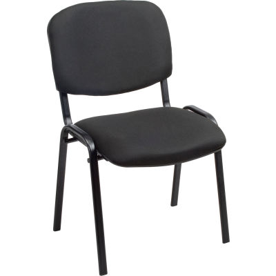 Interion® Stacking Guest Chair (Unassembled) - Fabric - Black