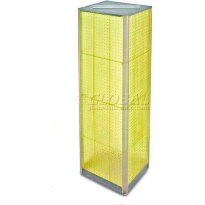 "Azar Displays 700405-YEL Four-Sided Pegboard Spinning Floor Display, 16"" x 60"", Yellow ,1 Piece"