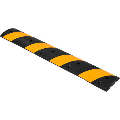 """Global Industrial™ 72"""" Portable Rubber Speed Bump, Yellow Stripes"""