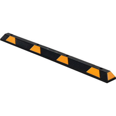 """Global Industrial™ 72"""" Rubber Parking Stop/Curb Block, Black With Yellow Stripes"""