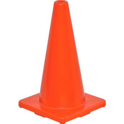 """Global Industrial™ 18"""" Traffic Cone, Non-Reflective, Solid Orange Base, 2-1/2 lbs"""