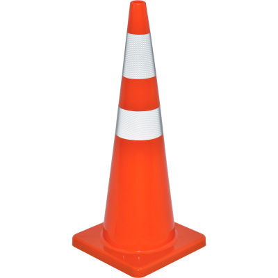"Global Industrial™ 36"" Traffic Cone, Reflective, Solid Orange Base, 10 lbs"