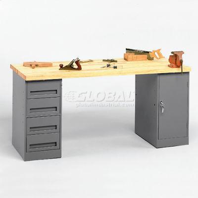 "72 W"" x 30 D"" Pedestal Workbench 4-Drawer And Cabinet Pedestal"