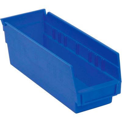 """Akro-Mils Plastic Nesting Storage Shelf Bin 30120 - 4-1/8""""W x 11-5/8""""D x 4""""H Blue - Pkg Qty 24"""