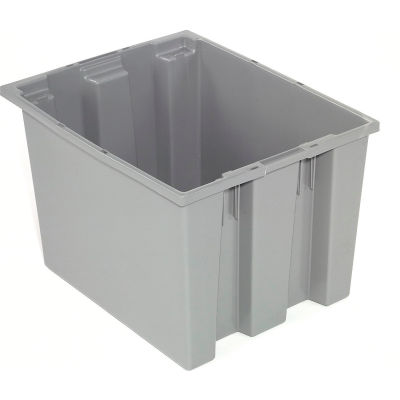 "Akro-Mils Nest & Stack Tote 35190 - 19-1/2""L x 15-1/2""W x 10""H, Gray - Pkg Qty 6"