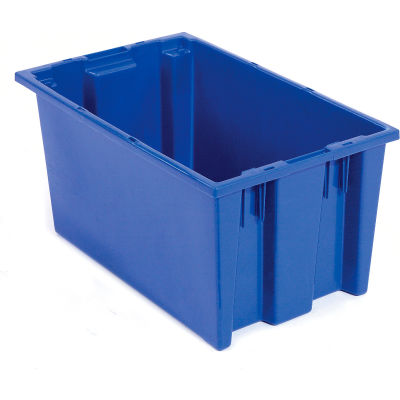 Global Industrial™ Stack and Nest Storage Container SNT200 No Lid 19-1/2 x 13-1/2 x 8, Blue - Pkg Qty 6