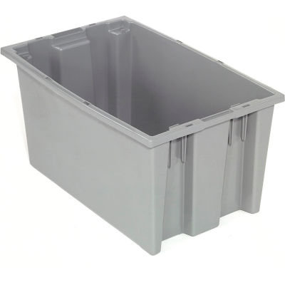 Global Industrial™ Stack and Nest Storage Container SNT180 No Lid 18 x 11 x 6, Gray - Pkg Qty 6
