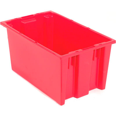 Global Industrial™ Stack and Nest Storage Container SNT200 No Lid 19-1/2 x 13-1/2 x 8, Red - Pkg Qty 6