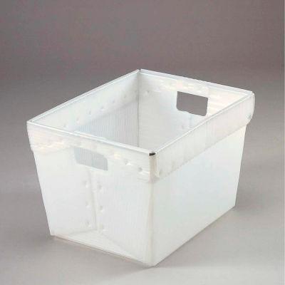 Global Industrial™ Corrugated Plastic Totes - Postal Nesting-No Lid 18-1/2x13-1/4x12 Natural