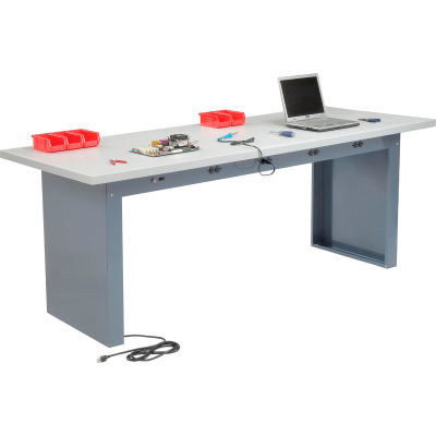 Global Industrial™ 96 x 36 Panel Leg Workbench - Power Apron & Plastic Laminate Square Edge Top