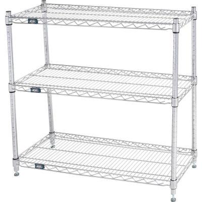 "Nexel® 48""W x 14""D x 34""H (3) Shelf Media Stand - Chrome"