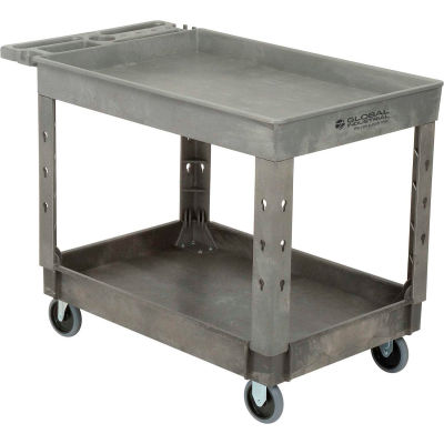 "Global Industrial™ Extra Strength Plastic 2 Tray Shelf Service Cart 44x25-1/2 5"" Casters"
