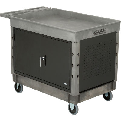 "Global Industrial™ Extra Strength Plastic 2 Tray Shelf Maintenance Cart 44x25-1/2 5"" Caster"