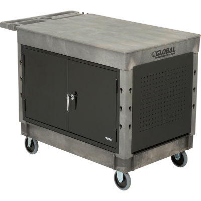"""Global Industrial™ Extra Strength Plastic Mobile Work Center Flat Top 44x25-1/2 Gray 5"""" Casters"""