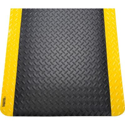 "Global Industrial™ Diamond Plate Ergonomic Mat 9/16"" Thick 36""X60"" Black/Yellow Border"