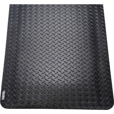 "Global Industrial™ Diamond Plate Ergonomic Mat 15/16"" Épais 36""x60"" Noir"