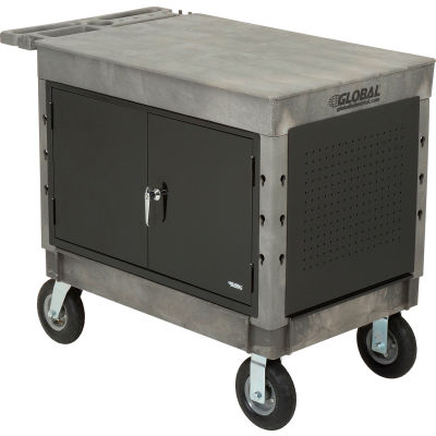 "Global Industrial™ Extra Strength Plastic Mobile Work Center Flat Top 44x25-1/2 Black 8"" Caster"