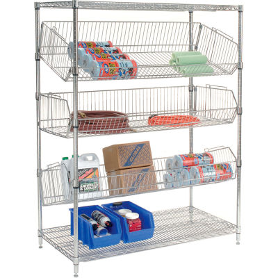 "Adjustable Wire Bin Rack - 36""W x 18""D x 63""H"