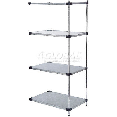 """Nexel® 4 Tier Shelving Add-On Unit, Solid Galvanized Steel, 36""""Wx18""""Dx74""""H"""