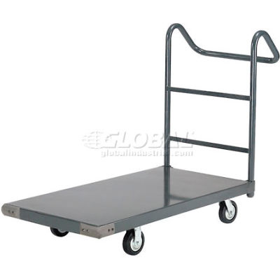 "Global Industrial™ Steel Deck Truck 72x36 1400 Lb. Cap. 5"" Rubber Casters - Ergo Handle"
