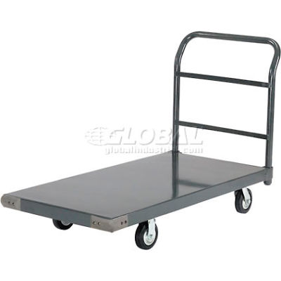 "Global Industrial™ Steel Deck Platform Truck 48 x 24 1400 Lb. Capacity 5"" Rubber Casters"