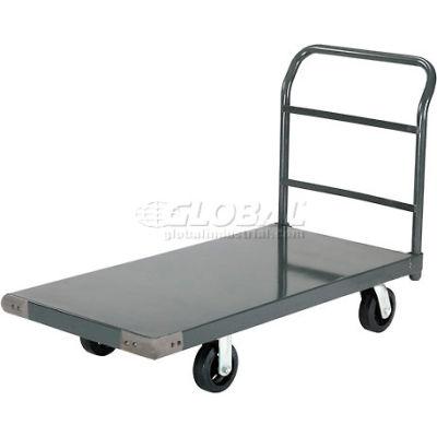 "Global Industrial™ Steel Deck Platform Truck 48 x 30 2000 Lb. Capacity 6"" Rubber Casters"
