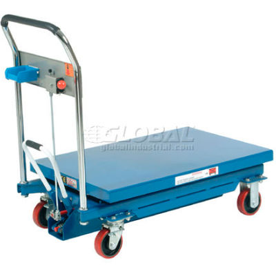 Global Industrial™ Mobile Scissor Lift Table with Hook-on Bin - 1100 Lb. Cap. 35 x 23 Platform