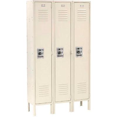 """Global Industrial™ Infinity® Single Tier 3 Door Locker, 12""""Wx18""""Dx72""""H, Tan, Unassembled"""