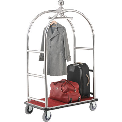 """Global Industrial™ Bellman Cart With Curved Uprights, 6"""" Casters, Silver Stainless Steel"""