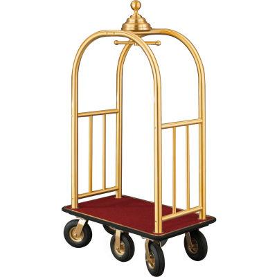 Glaro Ball Crown Bellman Cart 40x25 Satin Brass Burgundy Carpet, 6 Black Pneu Wheels