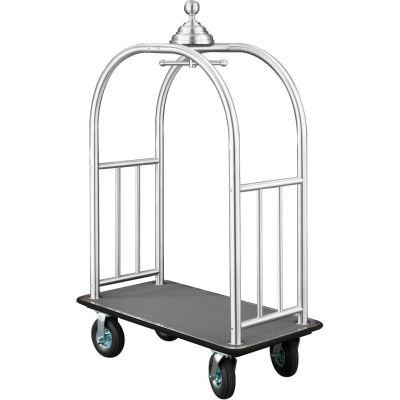 Glaro Ball Crown Bellman Cart 48x25 Satin Aluminum Gray Carpet, 4 Black Pneu Wheels