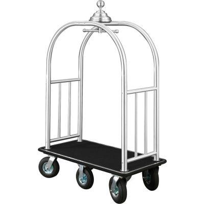 Glaro Ball Crown Bellman Cart 48x25 Satin Aluminum Black Carpet, 6 Black Pneu Wheels