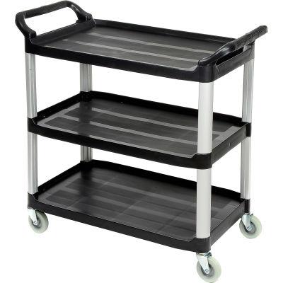 Chariot utilitaire de service en plastique à3étagèresLuxor® SC13B – capacité de300 lb, noir