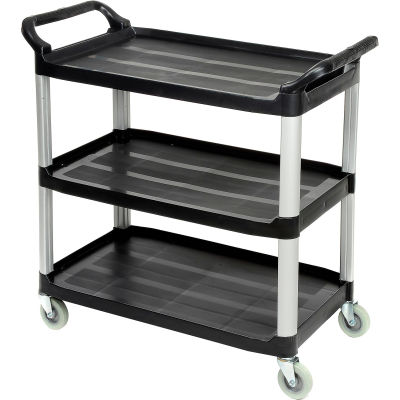 "Luxor® Service Cart, Aluminum Posts, 3 Shelf, 40-1/2""Lx19-3/4""W, Black"