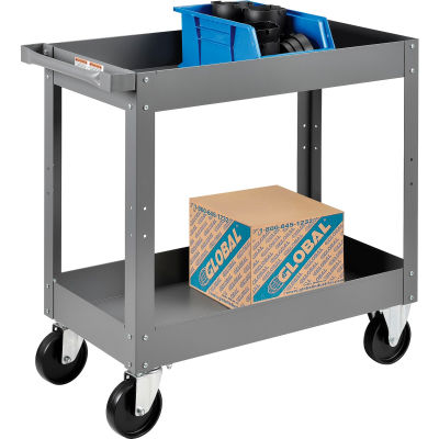 "Global Industrial™ Steel Stock Cart, 2 Deep Tray Shelves, 16""Wx30""L, 500 Lbs. Cap."