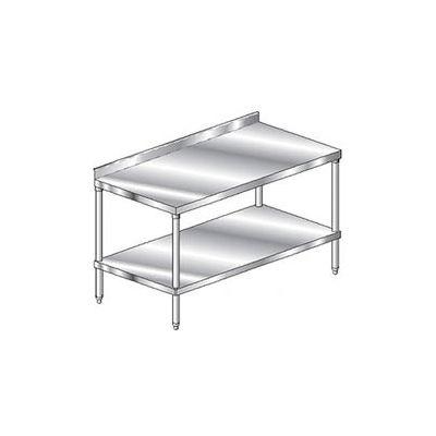 "Aero Manufacturing 3TSS-36144 16 Ga Workbench 304 Stainless Steel 2-3/4"" Backsplash & Shelf 144 x 36"