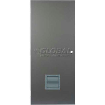 "CECO Hollow Steel Security Door 48""W X 84""H, 12""W X 12""H Louver, Cylindrical Prep, SteelCraft Hinge"