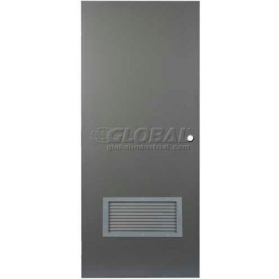 "CECO Hollow Steel Security Door 48""W X 84""H, 24""W X 12""H Louver, Mortise Prep, SteelCraft Hinge"