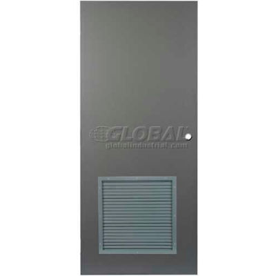 "CECO Hollow Steel Security Door 48""W X 84""H, 24""W X 24""H Louver, Cylindrical Prep, SteelCraft Hinge"