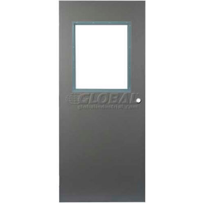 "CECO Hollow Steel Security Door, Half Glass, Cylindrical Prep, Curries Hinge, 16 Ga, 30""W X 80""H"
