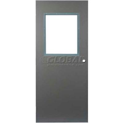 "CECO Hollow Steel Security Door, Half Glass, Cylindrical Prep, Curries Hinge, 18 Ga, 32""W X 80""H"