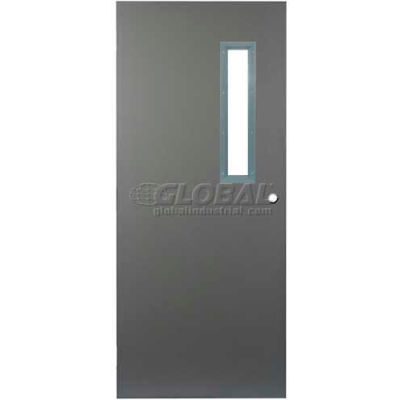 "CECO Hollow Steel Security Door, Narrow Light, Cylindrical, Curries Hinge/Glass, 18 Ga, 36""W X 80""H"