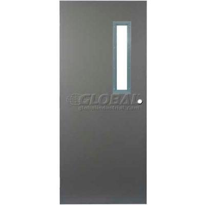 "CECO Hollow Steel Security Door, Narrow Light, Cylindrical, Curries Hinge/Glass, 16 Ga, 48""W X 80""H"