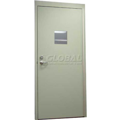 """CECO Hollow Steel Security Door, Vision Light, Cylindrical, Curries Hinge/Glass, 16 Ga, 36""""W X 80""""H"""